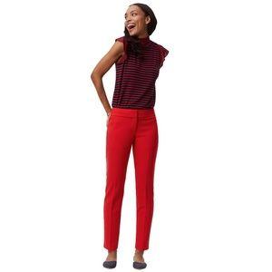 New LOFT Vivid Red Julie Slim Pencil Ankle Pants 8